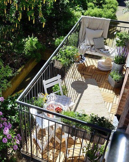 varanda super iluminada pelo sol com vários arranjos de folhagens verdes e sofá com cobertor