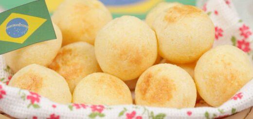 pao de queijo com a bandeira do Brasil