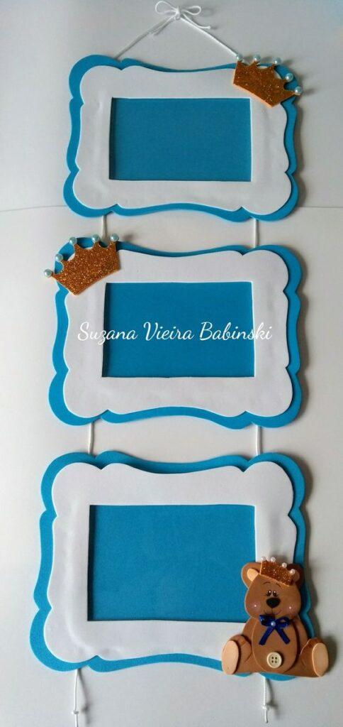 porta retrato para menino em branco e azul decorado com coroa de eva com gliter dourado